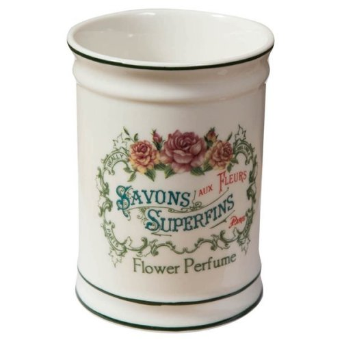"White Porcelain Decorated""savons Superfines"" W8,5xdp8,5xh11,5 Cm Sized Multipurpose Container"