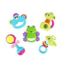 Teeth Biting Educational Toys Teether Hand Bell Toys Newborn Gift Set for Babies,5 Pcs Gift Boxes
