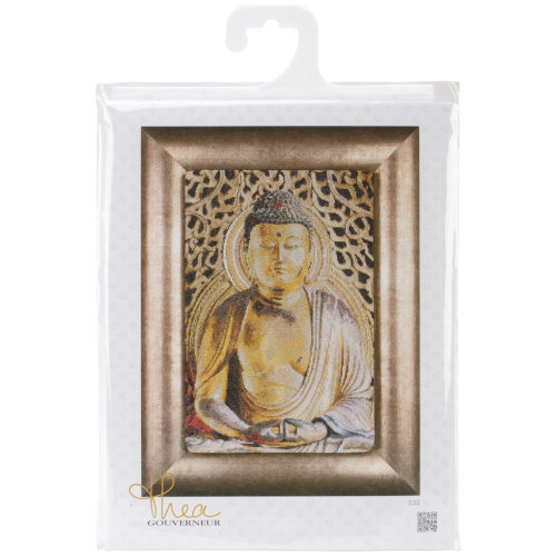 "Buddha On Aida Counted Cross Stitch Kit-8.75""X13"" 18 Count"
