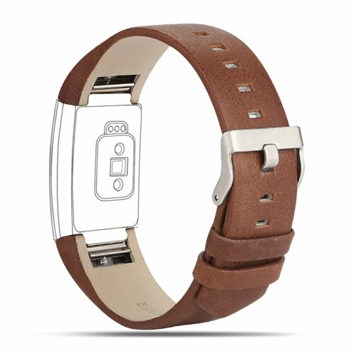For Fitbit Charge 2 Strap Leather Band-Coffee Brown
