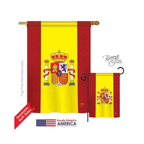Breeze Decor 08075 Spain 2-Sided Vertical Impression House Flag - 28 x 40 in.