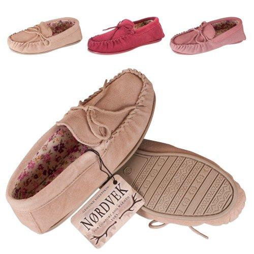 Nordvek Sheepskin Slippers Women - Fabric Lined Moccasin - Non-Slip Hard Sole # 419-100