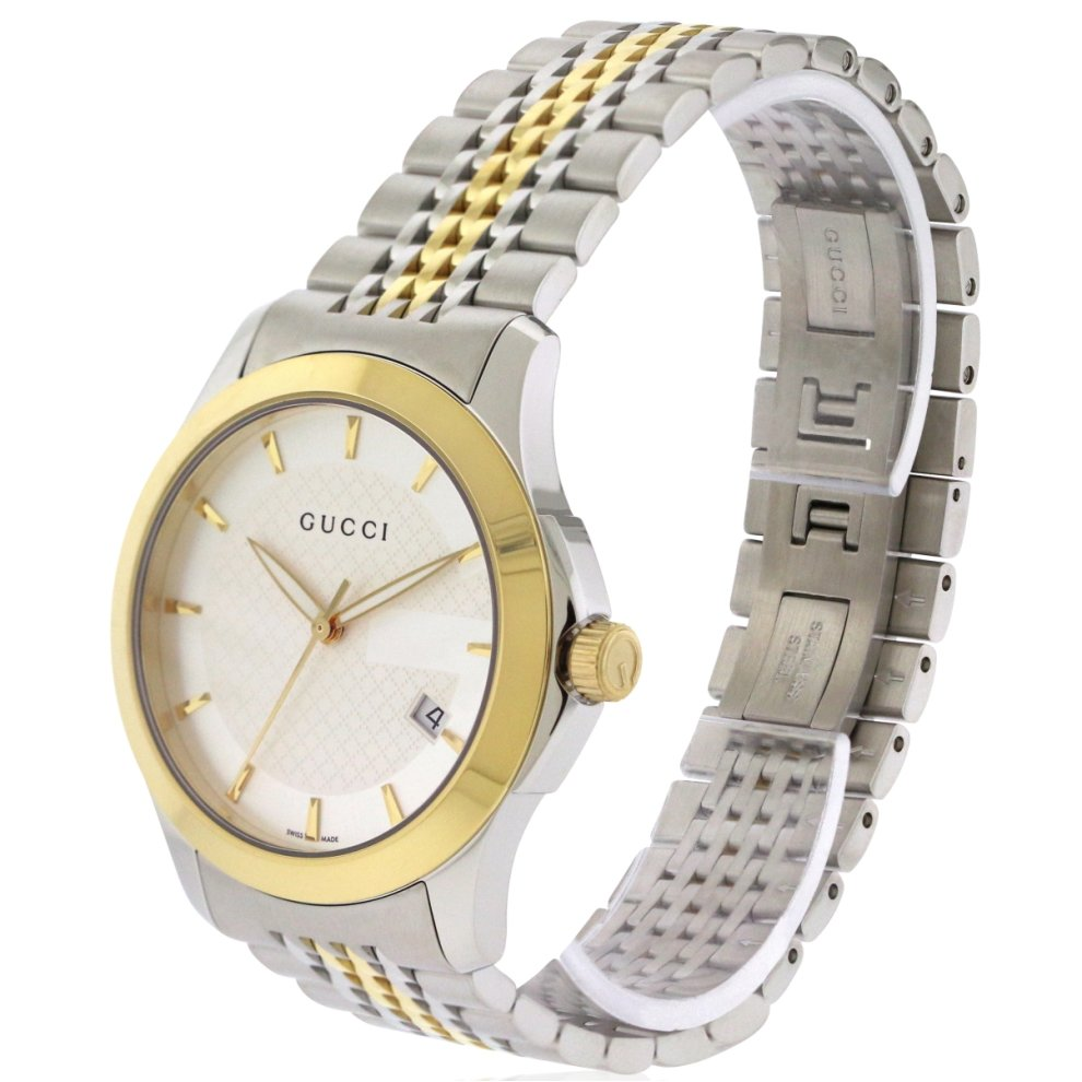 ac6e8f22a4e ... Gucci G-Timeless Two-Tone Stainless Steel Mens Watch YA126409 - 1 ...