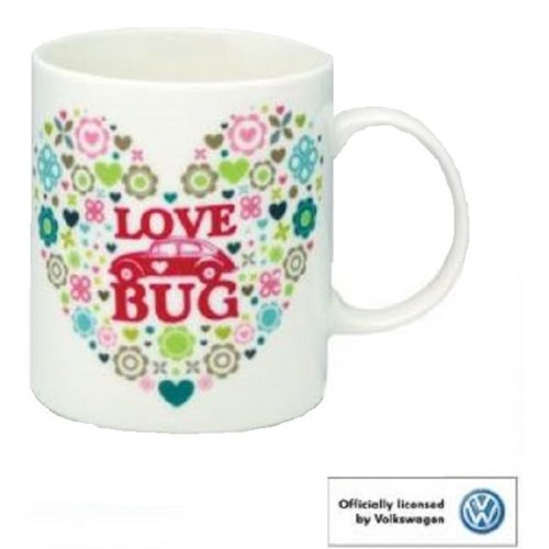 VW Beetle Love Bug Bone China Mug Cup Souvenir Gift Official Volkswagen Heart