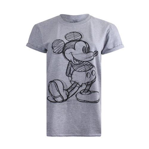 83b1d57b Disney Mickey Mouse Sketch Ladies T-Shirt Grey on OnBuy