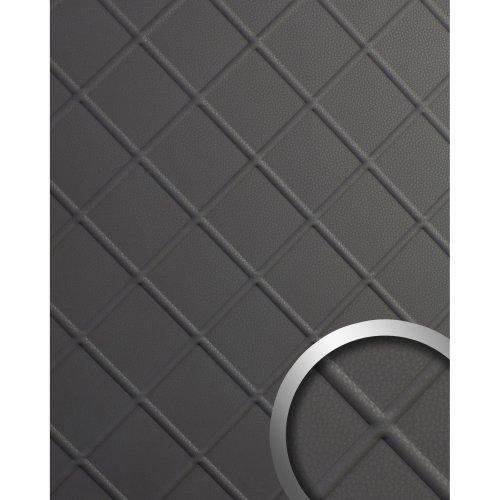 WallFace 19764 Antigrav CORD Charcoal Light Wall panel nappa leather look grey