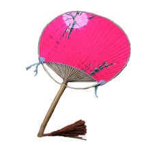 Japanese Style Cotton Fabric Print Decor Bamboo Handle Round Hand Fan - Red