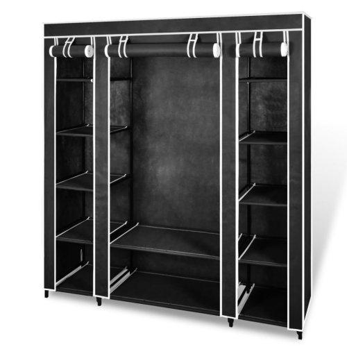 vidaXL Wardrobe with Compartments and Rods 45x150x176cm Black Fabric Closet