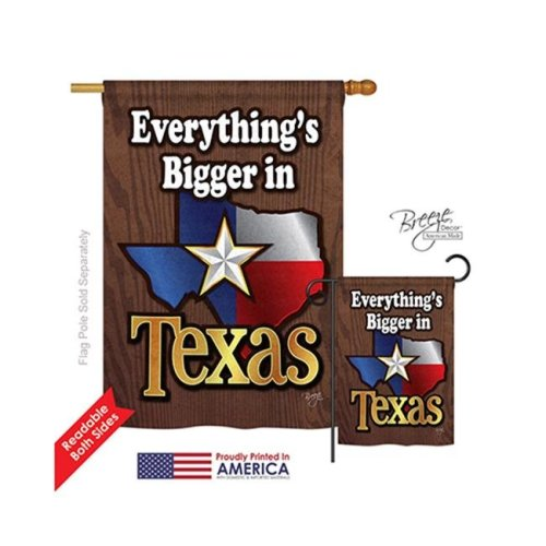 Breeze Decor 08067 States Texas 2-Sided Vertical Impression House Flag - 28 x 40 in.