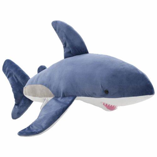 vidaXL White Shark Cuddly Toy Plush Blue and White Stuffed Animal Kids Gift