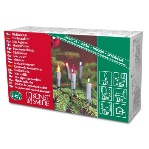 Konstsmide 2116-500 Traditional Fairy Light Set On Green Cable / Indoor use (IP20) / 50 Multi Coloured