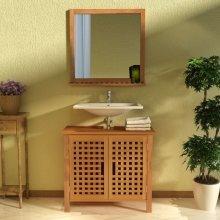 vidaXL Sink Cabinet with Mirror Solid Walnut Wood