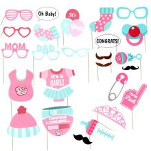 TRIXES 25PC Baby Girl Shower Props Set Cards