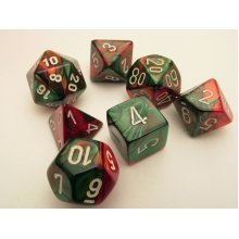 Chessex Gemini Polydice Set - Green-Red/white
