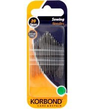 Pack Of 20 Sewing Needles -  korbond sewing needles 20pcs assorted various sizes care repair new 110250 20piece