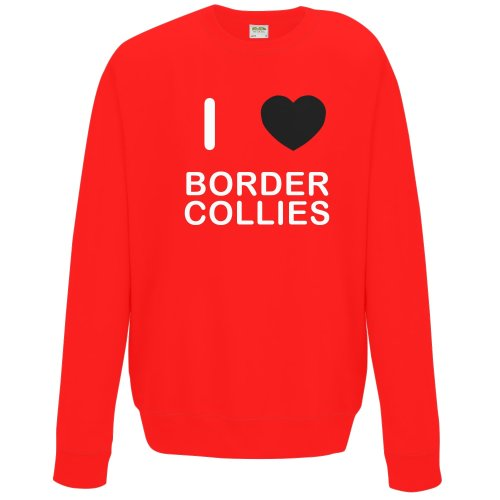 (Red, XL) I Love Border Collies - Sweater