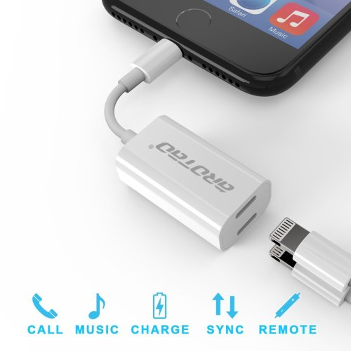aROTaO iPhone 7 Adapter & Splitter, 2 in 1 Dual Lightning Headphone