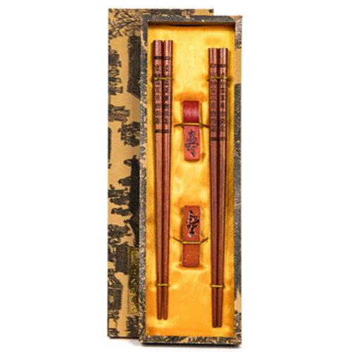 Chopsticks Reusable Set - Asian-style Natural Wooden Chop Stick Set with Case as Present Gift,H