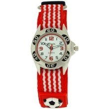 Ravel Analogue Boys Red & Black Football Fabric Velcro Strap Watch R1507.17