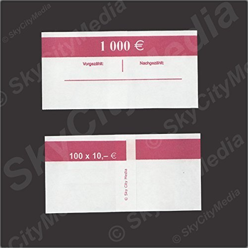 Bank Wrappers for 10 Euro Banknotes Paper Sleeve Capacity of 100 Notes per Bank Wrapper – Pack of 50