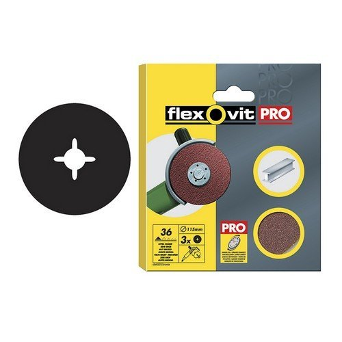 Flexovit 63642527537 Aluminium Oxide Fibre Discs 125mm Medium 50g Pack of 3