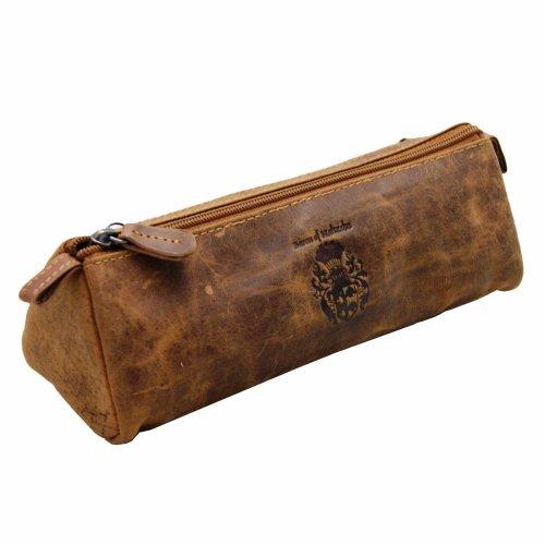 BARON of MALTZAHN Pencil case Cosmetic bag DEMOCRIT leather brown