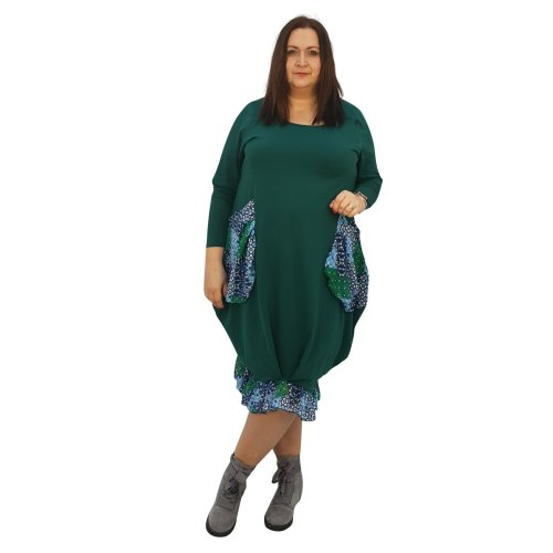 f6903aadae1 Plus size asymmetric dress lagenlook loose chiffon pockets and frill long  sleeve  L1045 GREEN  on OnBuy