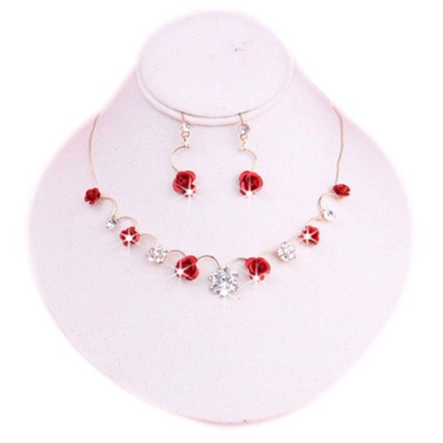 Great Bridesmaids or Bridal Jewelry Glamorous Wedding Necklace & Earrings Set