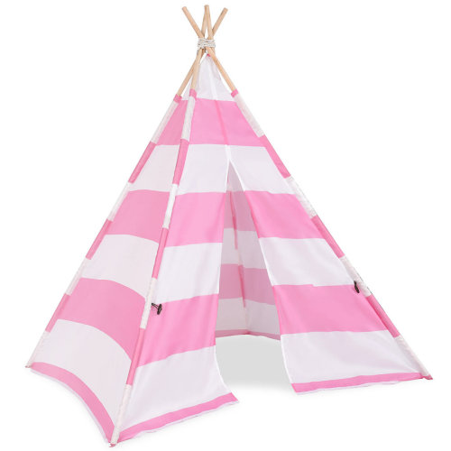 Kids Teepee Indian Play Tent Wooden Bar  Playhouse Canvas