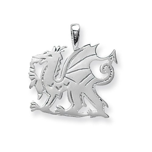 Sterling Silver Medium Welsh Dragon Pendant On A Snake Necklace