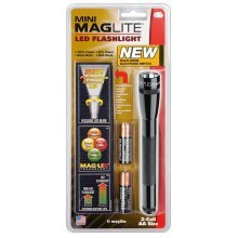 Mini Maglite 2 AA LED torch - 77 lumens - 141m beam - torch and holster pack