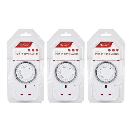 3 X Vinsani 24 Hour Plug-in Segment Timer Switch Energy Saving Programmable Mechanical Timer Standard Size UK Plug