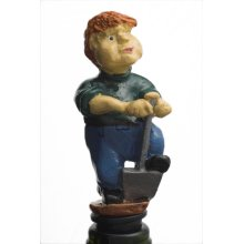 Digger Farmer Wine Stopper & Cake Decoration -  gardener bottle hand painted novelty gift collectable him her stoppers male