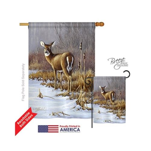 Breeze Decor 10062 Wildlife & Lodge On Alert 2-Sided Vertical Impression House Flag - 28 x 40 in.