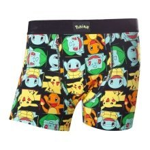 Pokemon Adult Male Pikachu and Friends All-Over Pattern Boxer Short S Size - Black