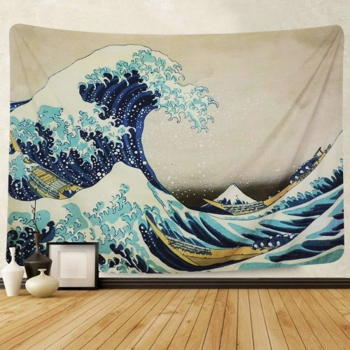Amkun Tapestry Wall Hanging, Great Wave Kanagawa Wall Tapestry with Art Nature Home Decorations for Living Room Bedroom Dorm Decor (Wave, 200x150cm)
