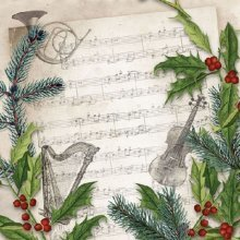 4 x Paper Napkins -  Christmas Song  - Ideal for Decoupage / Napkin Art