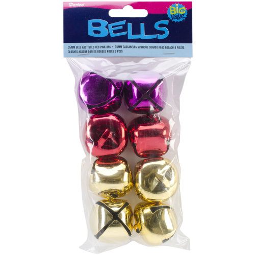 Jingle Bells 35mm 8/Pkg-Gold, Red & Pink