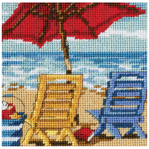 "Dimensions Mini Needlepoint Kit 5""X5""-Beach Chair Duo Stitched In Thread"