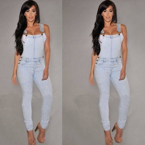 2017 Fashion Sexy Women Jeans Pants Jumpsuit Denim Overalls Skinny Slim Casual Romper Trousers H9