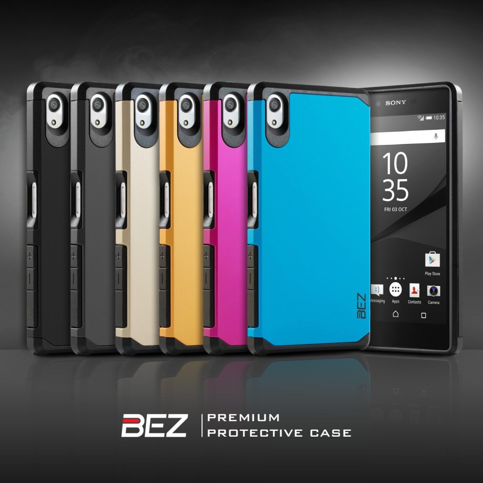 wholesale dealer b461a f0d18 Sony Xperia Z5 Case, BEZ® Shockproof Case Cover, Shock Absorbing Case Best  Heavy Duty Dual Layer Tough Cover for Sony Xperia Z5 - Black