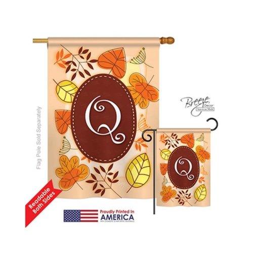 Breeze Decor 30043 Autumn Q Monogram 2-Sided Vertical Impression House Flag - 28 x 40 in.