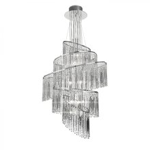 Clear Glass & Chrome Effect Plate 24lt Pendant 10W by Happy Homewares