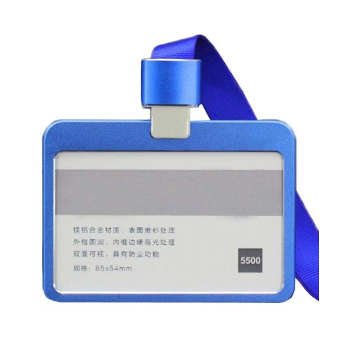 Aluminum Alloy Horizontal ID Card Badge Holder with Neck Lanyard Strap 3PCS, 40