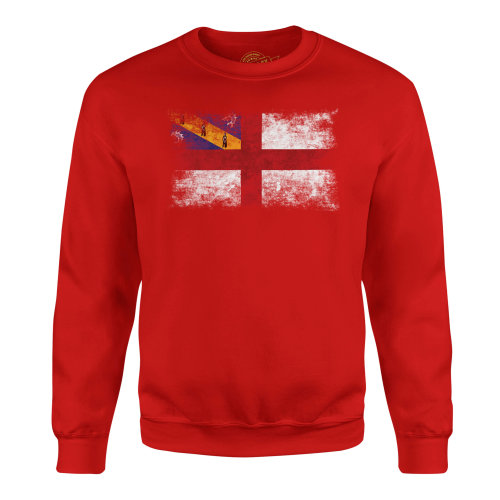 Candymix - Herm Distressed Flag - Unisex Adult Sweatshirt, Size Small, Colour Red