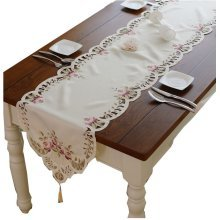 Elegant Lotus Embroidery Table Runner Beige Cut-Out Cotton Table Runner 78.5''