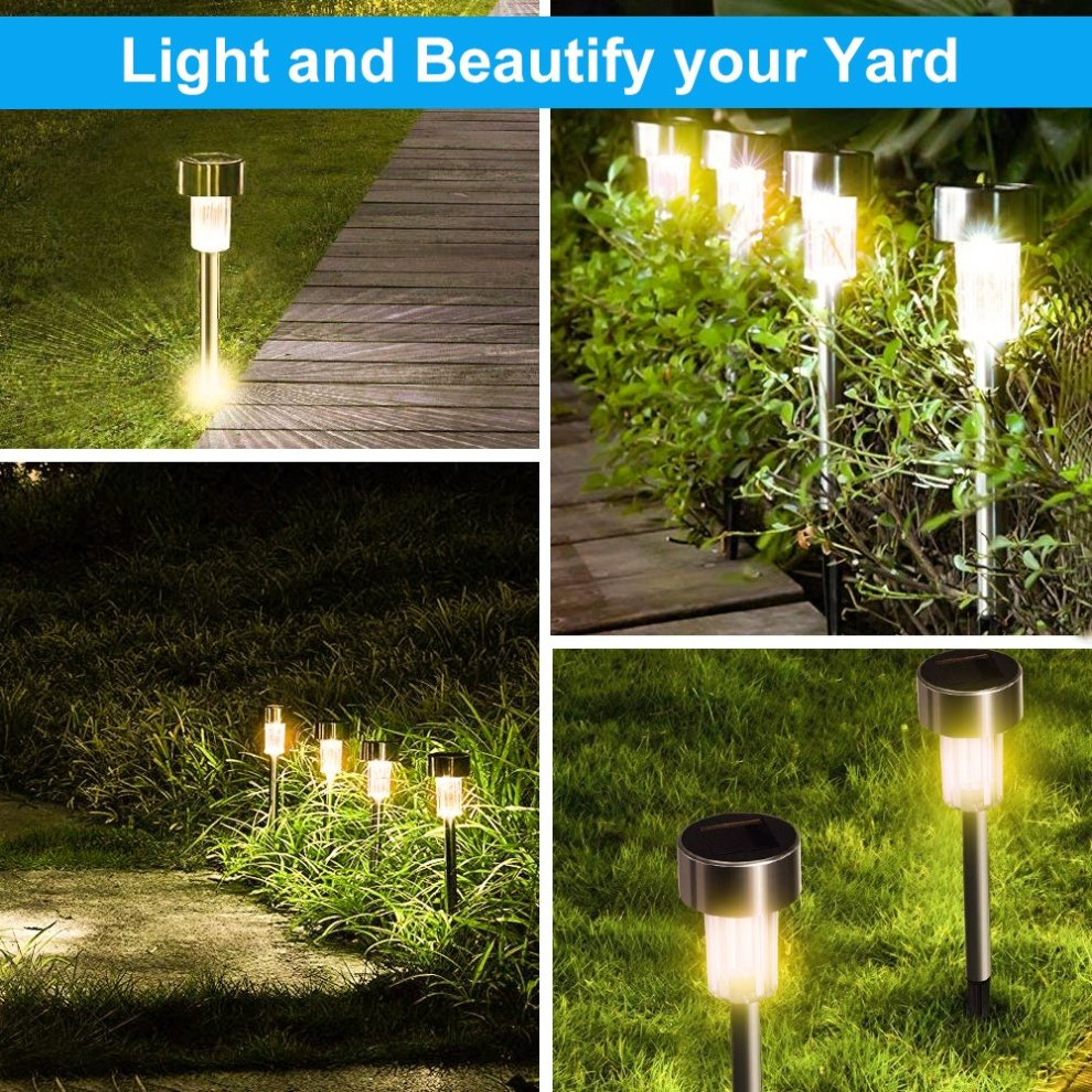 Solar Lights Outdoor Warm White Waterproof 10 Pack Walkway Pathway Garden Ed Stake