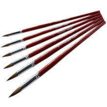 6Pcs Wolf Hair Soft Round Paintbrushes Watercolor Paint Brushes,6 Sizes