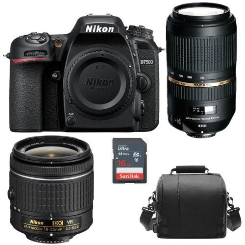 NIKON D7500 AF-P 18-55mm+TAMRON SP 70-300mm F4-5.6 USD+Bag+16G SD card