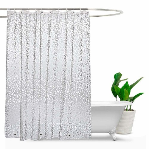 EurCross Extra Long Shower Curtains 180 X 220cm Drop EVA Semi Transparent Bathroom Mould Proof Resistant And Waterproof With 3 On OnBuy